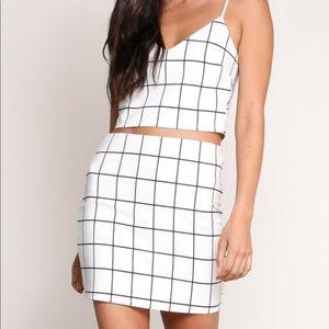 Grid Plaid Print Crop Top + Skirt Matching Set